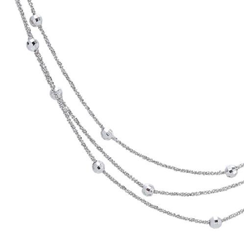 カリーツァ イタリー シルバー カットビーズ ステーションデザイン クリスクロスチェーン 3連ロングネックレス