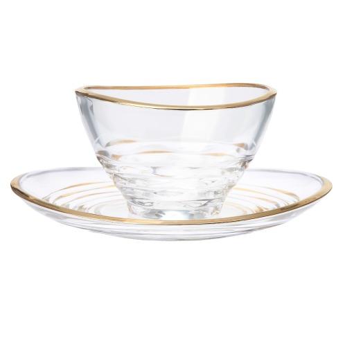 ゴールドカラーアクセント ガラスボール&ガラスプレート 2組セット