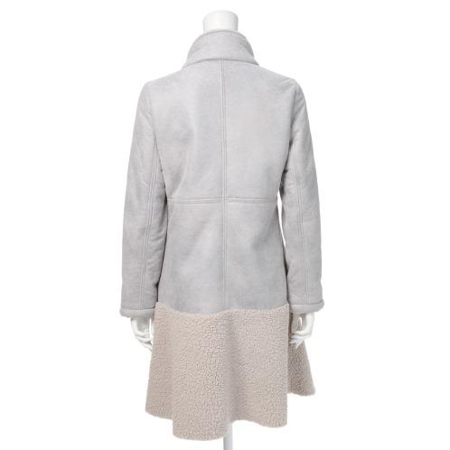 マヤマヤ フェイクムートン 裾フレアー切替 コート