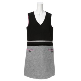 クリン ヨシキ 圧縮ウール風 配色デザイン ジャンパースカート