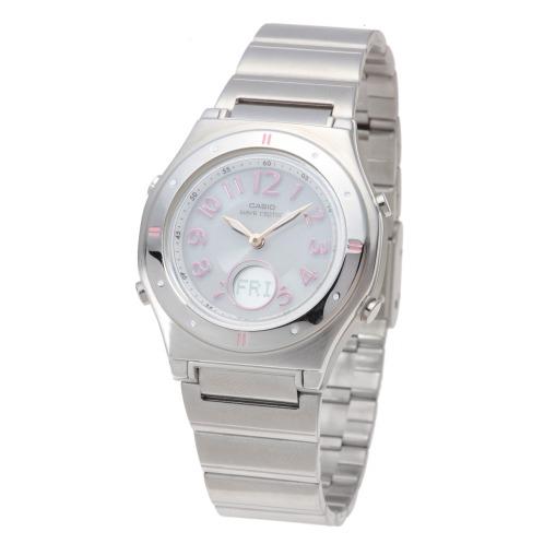 """カシオ <アラビアインデックス>カシオレディース電波ソーラー腕時計""""ウェーブセプター""""の画像"""
