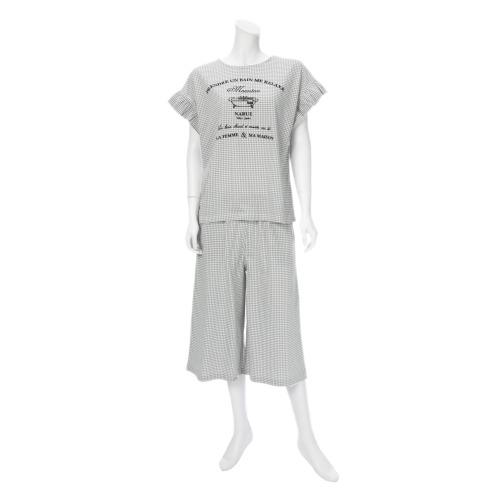 ナルエー ナルエーギンガムチェックルームウェア上下セット(パジャマ・室内着 ファッション)の画像