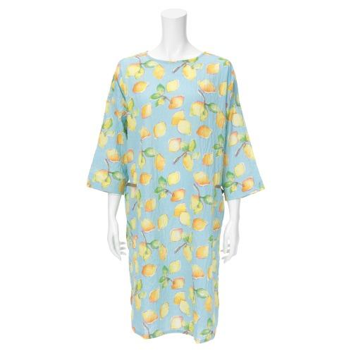ナルエー ナルエーレモン柄七分袖ワンピース(パジャマ・室内着 ファッション)の画像
