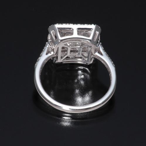 18Kホワイトゴールド 1カラットUP ダイヤモンド プリンセスカット ミステリーセッティング ラグジュアリーリング