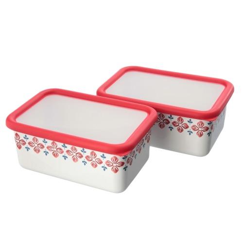 クッカ <M> 富士ホーロー クッカ ホーロー深型角容器 同色2個セット(保存容器 キッチン用品 ホーム・インテリア)の画像