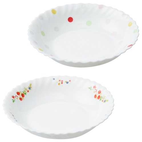 ファミエット イワキ お好みの柄を2枚選べる! ファミエット 深皿<小>2枚セット(卓上小物 キッチン用品 ホーム・インテリア)の画像