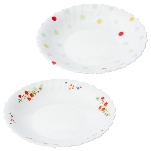 ファミエット イワキ お好みの柄を2枚選べる! ファミエット 深皿2枚セット(卓上小物 キッチン用品 ホーム・インテリア)の画像