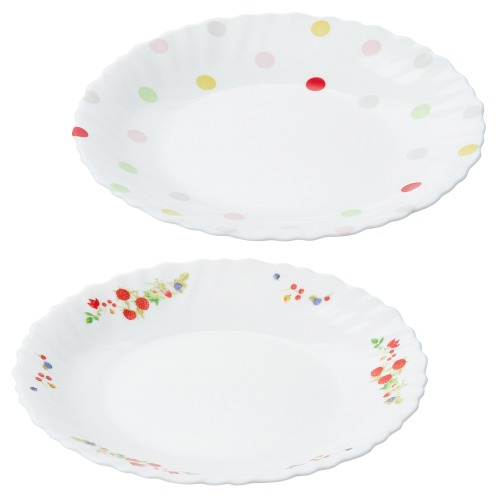 ファミエット イワキ お好みの柄を2枚選べる! ファミエット 小皿2枚セット(卓上小物 キッチン用品 ホーム・インテリア)の画像
