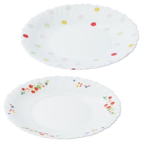 ファミエット イワキ お好みの柄を2枚選べる! ファミエット 中皿2枚セット(卓上小物 キッチン用品 ホーム・インテリア)の画像