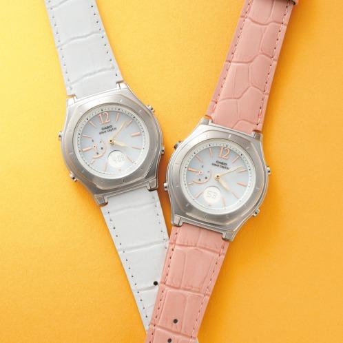 """カシオ カシオレディース電波ソーラー腕時計""""ウェーブセプター""""<レザーバンド>の画像"""