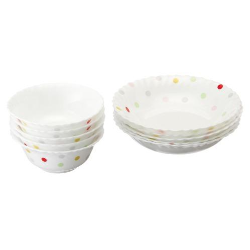 イワキ <深皿小&ボウル>イワキファミエット2種10枚セット<ドット>(その他 キッチン用品 ホーム・インテリア)の画像