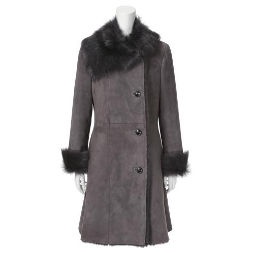 メリオン メリオンスペイン産ムートン美襟コート(レザー・ツイード ファッション)の画像
