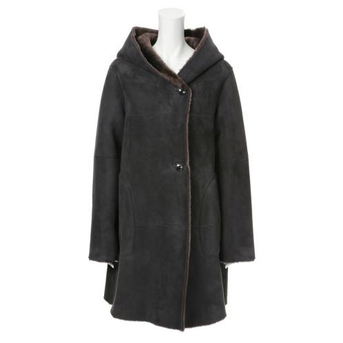 メリオン メリオンスペイン産ムートンフード付コート(レザー・ツイード ファッション)の画像