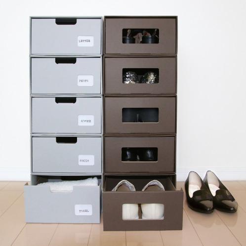 クラフトシュウノウ <同色5個組>ラク・カル・ジョーブ! クラフト製 多機能収納ボックスの画像