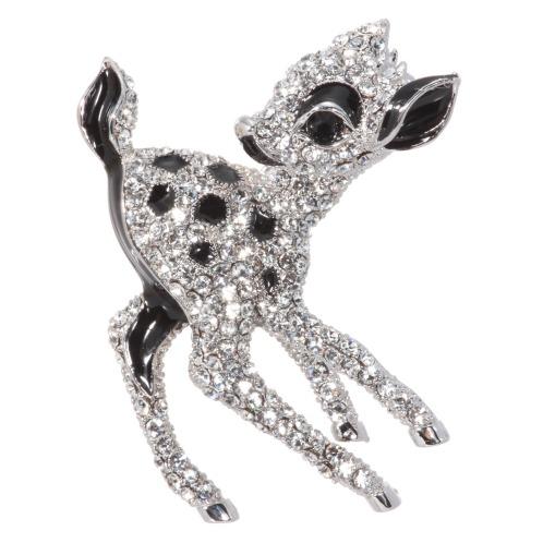 ベロニカニューヨークファッションコレクション クリスタルガラス子鹿モティーフブローチの画像