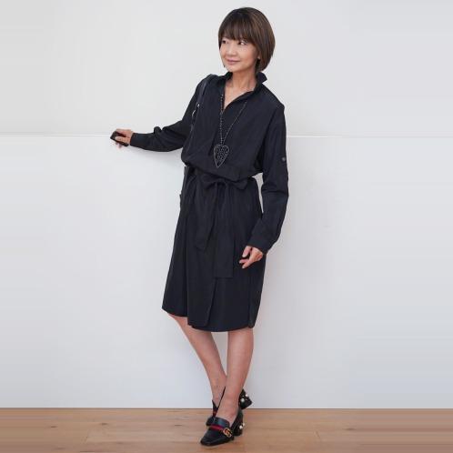 エムズスタイル エムズ スタイル共布ベルト付アシンメトリーデザインシャツカラーコートの画像
