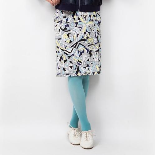 ミナコ ヨコモリ ミナコ★ヨコモリ幾何学プリントタイトスカート(スカート ファッション)の画像