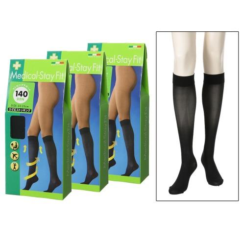 ステイフィット メディカルステイフィット140デニールひざ丈ストッキング同色3足セット(下着・ランジェリー ファッション)の画像