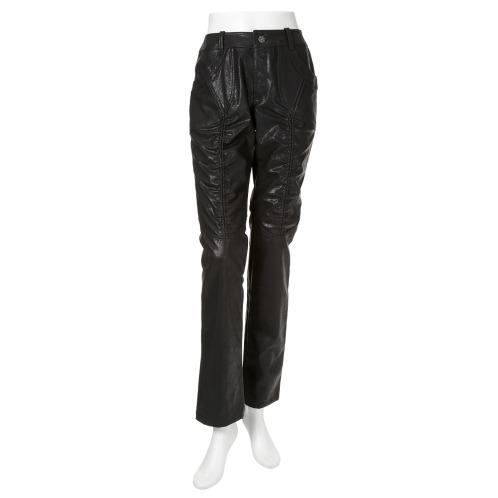 ジンカトー ジン・カトーフェイクレザーシャーリングデザインスリムパンツ(パンツ ファッション)の画像