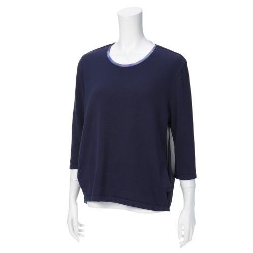 ゴマ ゴマ異素材切替七分袖プルオーバー(セーター ファッション)の画像