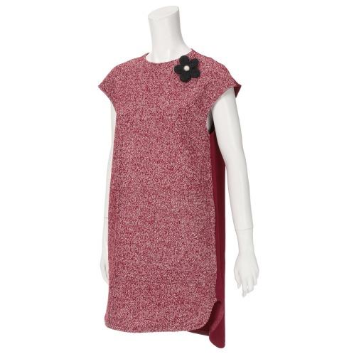 キリ エ キリ キリ エ キリブローチ付異素材切替ジャンパースカート(ワンピース ファッション)の画像