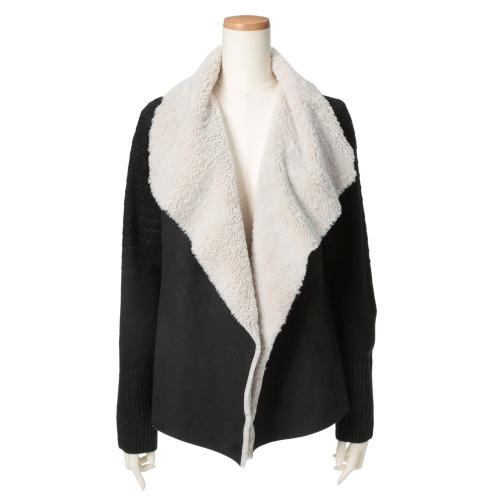 ナフナフ ナフナフボアカラー異素材切替カーディガン(セーター ファッション)の画像