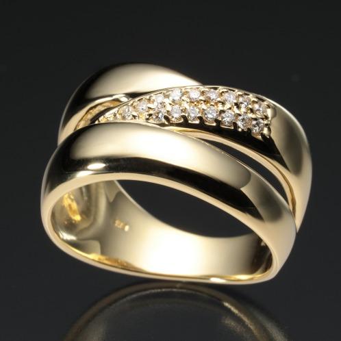 エムイー・ブリランテ エムイー・ブリランテ18Kダイヤモンドクロスデザインボリュームリング(18K リング ジュエリー)の画像