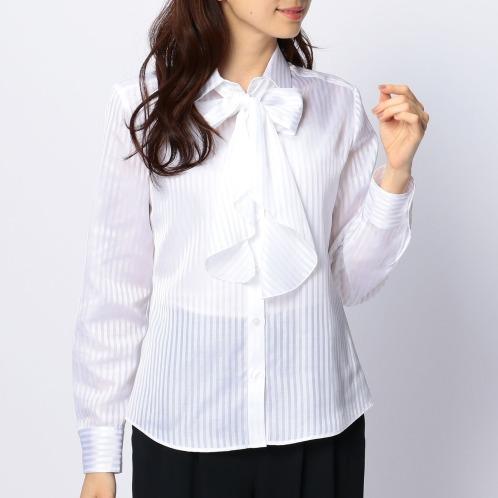 ナラカミーチェ ナラカミーチェリボン付サテンストライプ長袖シャツ(トップス ファッション)の画像