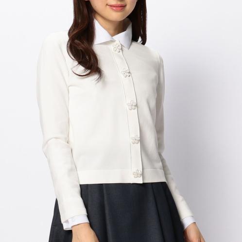 ナラカミーチェ ナラカミーチェフラワービジュウアクセントクルーネック長袖カーディガン(セーター ファッション)の画像