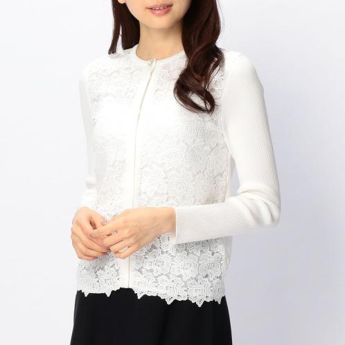 ナラカミーチェ ナラカミーチェフラワーレース切替クルーネック長袖カーディガン(セーター ファッション)の画像