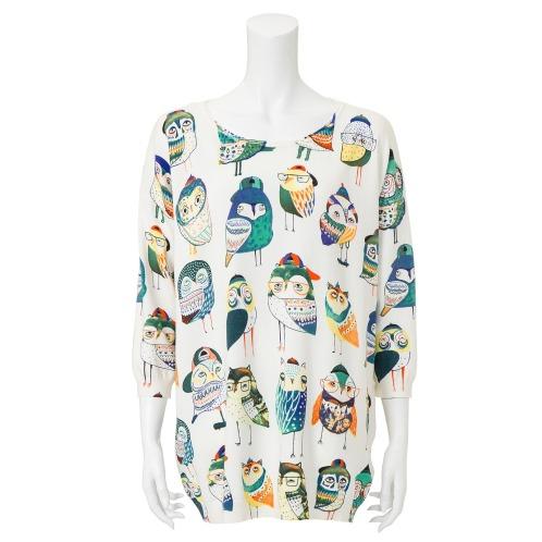ダジュール ダジュールふくろう柄プリントニットチュニックプルオーバー(セーター ファッション)の画像