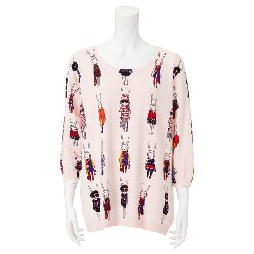 ダジュール ダジュールうさぎ柄プリントニットチュニックプルオーバー(セーター ファッション)の画像