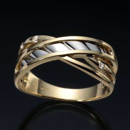エムイー・ブリランテ エムイー・ブリランテプラチナ900&18Kダイヤモンドクロスオーバーリング(18K リング ジュエリー)の画像