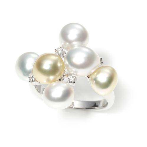 ペルラジオーネ 18Kホワイトゴールドダイヤモンド&ホワイト&ゴールデン白蝶ケシパールデザインリング(18K リング ジュエリー)の画像