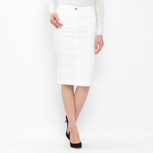 マダムヒロコ マダムヒロコストレッチデニムセミタイトスカート(スカート ファッション)の画像