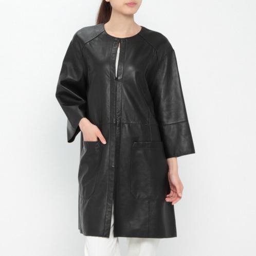 マンゴ マンゴシープレザーノーカラーコート(コート ファッション)の画像