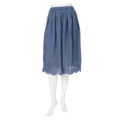 プールトレファム プールトレファムリネン刺しゅうアクセントフレアースカート(スカート ファッション)の画像