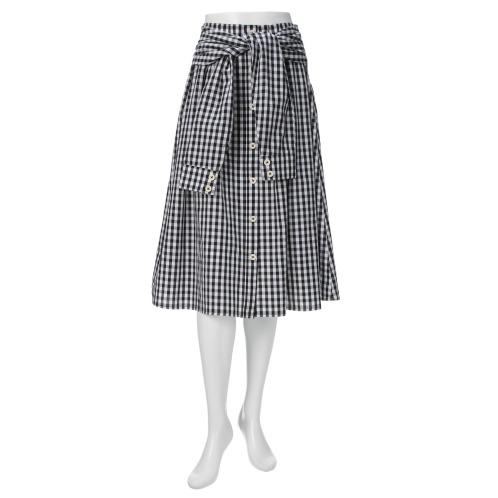 ラブパラダイス 24 ラブパラダイスギンガムチェック腰巻きスタイル風フレアースカート(スカート ファッション)の画像