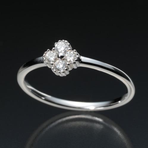 18Kダイヤモンドフラワーモティーフリング