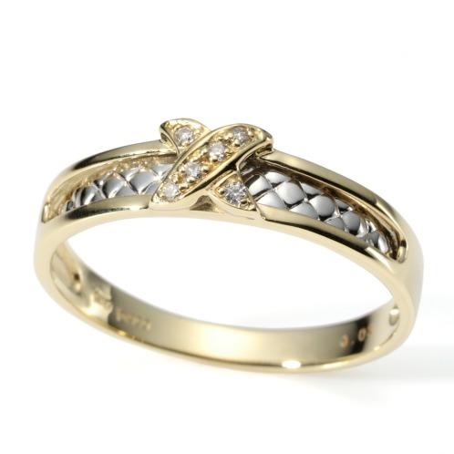 エムイー・ブリランテ エムイー・ブリランテプラチナ900&18Kダイヤモンドクロスアクセントリング(18K リング ジュエリー)の画像