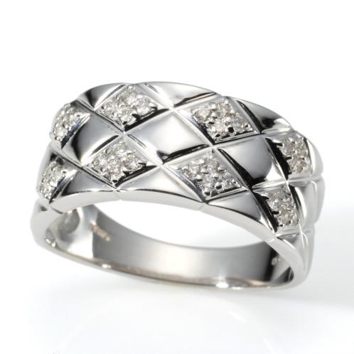 エムイー・ブリランテ エムイー・ブリランテ18Kホワイトゴールドダイヤモンドキルティングデザインリング(18K リング ジュエリー)の画像