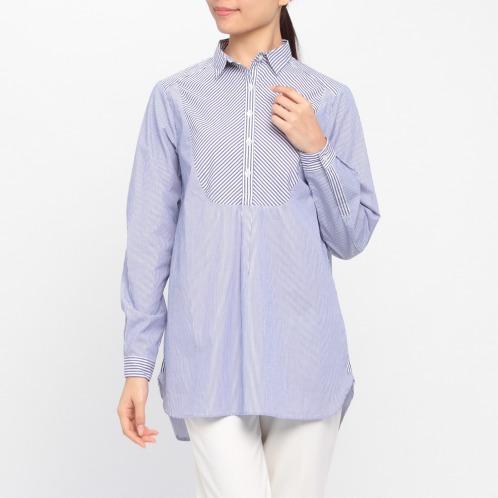 ルード マリクレール ルード マリクレールストライプコンビネーションロングシャツ(パンツ ファッション)の画像