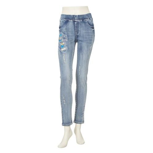 ダジュール ダジュール刺しゅうアクセントデニムパンツ(パンツ ファッション)の画像