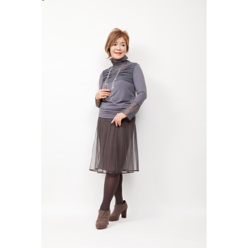 ミナコ ヨコモリ ミナコ★ヨコモリチュールスカート付レイヤードストレートスカート(スカート ファッション)の画像