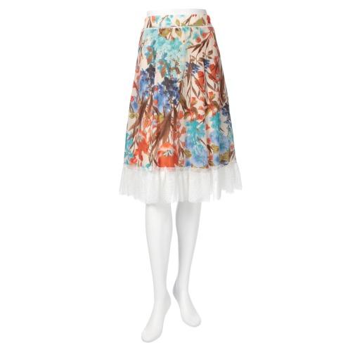 ジンカトー ジン・カトーコットンシルクボタニカルプリントフレアースカート(スカート ファッション)の画像