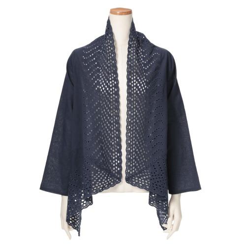 フレア フレアカットワーク刺しゅうカーディガン(ジャケット ファッション)の画像