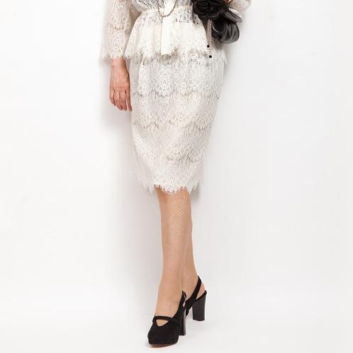 ミナコ ヨコモリ ミナコ★ヨコモリレースタックアクセントセミタイトスカート(スカート ファッション)の画像