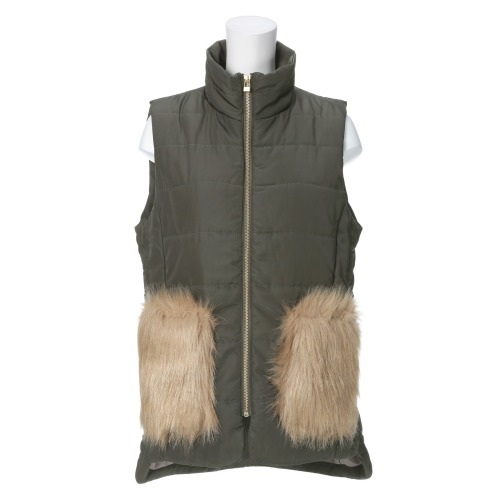 ラ ヴァーグ デトワール ラ ヴァーグ デトワールフェイクファーポケット中綿入りベスト(ジャケット ファッション)の画像