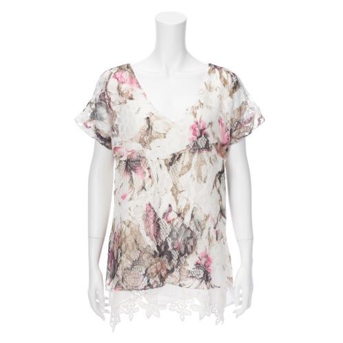 クリス・モーダ クリス・モーダルッリフラワーレースプルオーバー<ピンク系>(セーター ファッション)の画像
