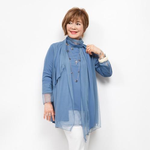 ミナコ ヨコモリ ミナコ★ヨコモリフロントチュールロングカーディガン(セーター ファッション)の画像